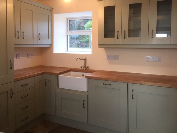 Handpainted Sage Green Kitchen With Solid Oak Worktop Designed And Ed By Barrett Kitchens